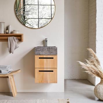 Meuble salle de bain en teck massif et marbre Line 40 cm