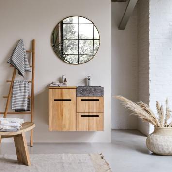 Meuble salle de bain en teck massif et marbre Line 85 cm