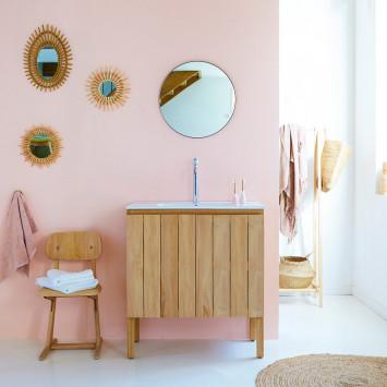 Meuble salle de bain en teck massif et céramique Jill 80 cm