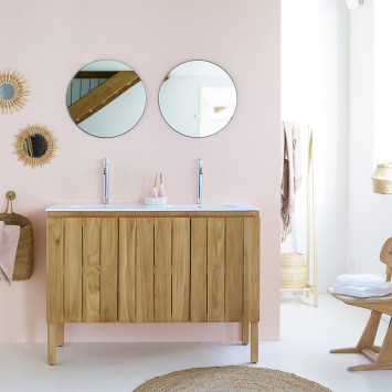 Meuble salle de bain en teck massif et céramique Jill 120 cm