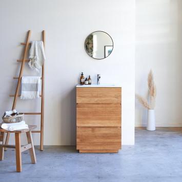Meuble salle de bain en chêne massif et céramique Karl 60 cm