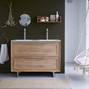 Meuble salle de bain en teck massif et céramique Wave 120 cm