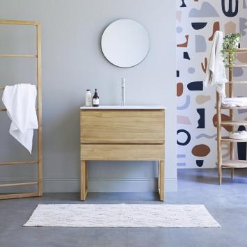 Meuble salle de bain en teck massif et céramique Edgar 80 cm