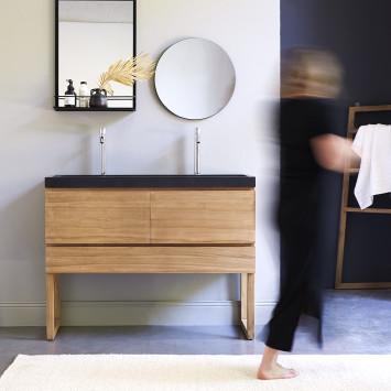 Meuble salle de bain en teck massif et pierre de lave Edgar 120 cm