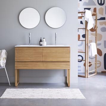Meuble salle de bain en teck massif et céramique Edgar 120 cm
