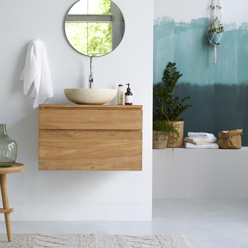Meuble sous vasque en teck massif Jacob 80 cm