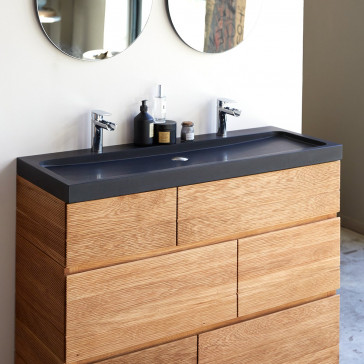 Meuble salle de bain en chêne massif et pierre de lave Karl 120 cm