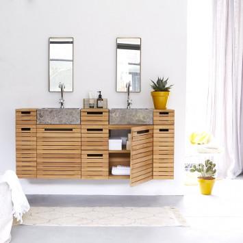 Meuble salle de bain en teck massif et marbre Slats 150 cm
