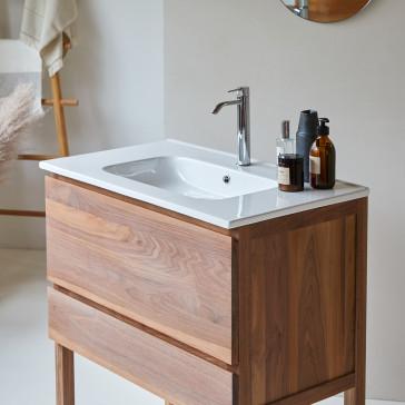 Meuble salle de bain en noyer massif et céramique Edgar 80 cm