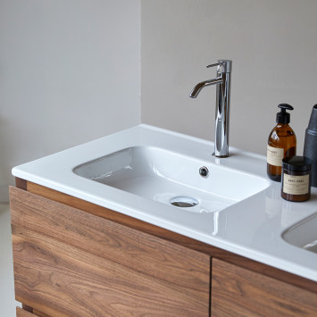 Meuble salle de bain en noyer massif et céramique Edgar 120 cm