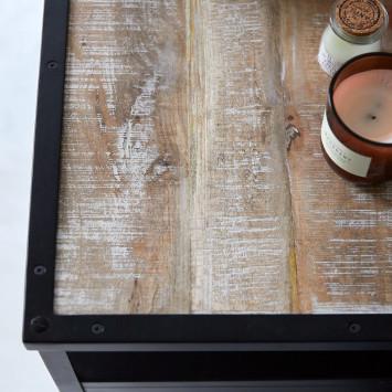 Meuble sous vasque en manguier massif et métal Industriel 95 cm