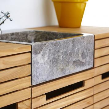 Meuble salle de bain en teck massif et marbre Slats 125 cm