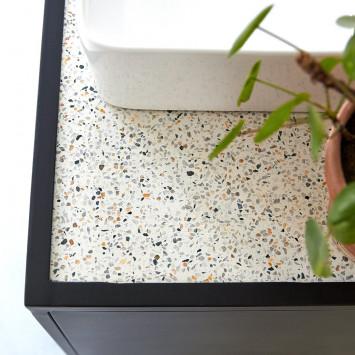 Meuble sous vasque en terrazzo et métal Lizzie 90 cm