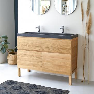 Meuble salle de bain en chêne massif et pierre de lave Easy 120 cm