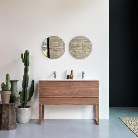 Meuble salle de bain en noyer massif et inorganique Moon Edgar 120 cm