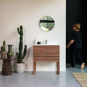 Meuble salle de bain en noyer massif et inorganique Moon Edgar 80 cm