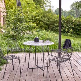 Table de jardin ronde en inorganique et métal Elio grey 4 pers