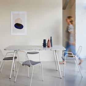 Table rectangulaire en inorganique et métal Elio white 4/6 pers