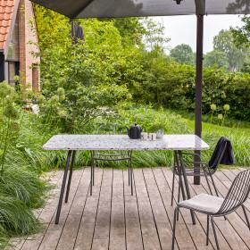Table de jardin rectangulaire en inorganique et métal Elio grey 4/6 pers