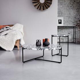 Bout de canapé en métal et inorganique Unik