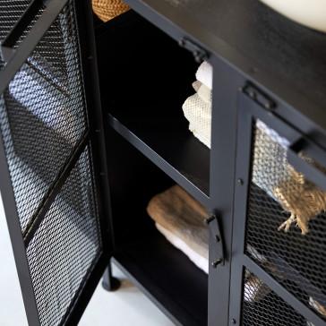 Meuble sous vasque en manguier et métal Romy 140 cm