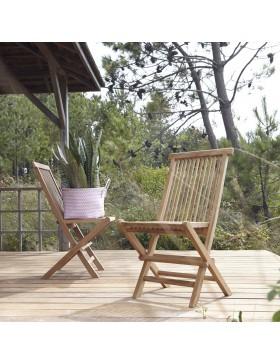 Ensemble de 2 Chaises de jardin en teck Capri
